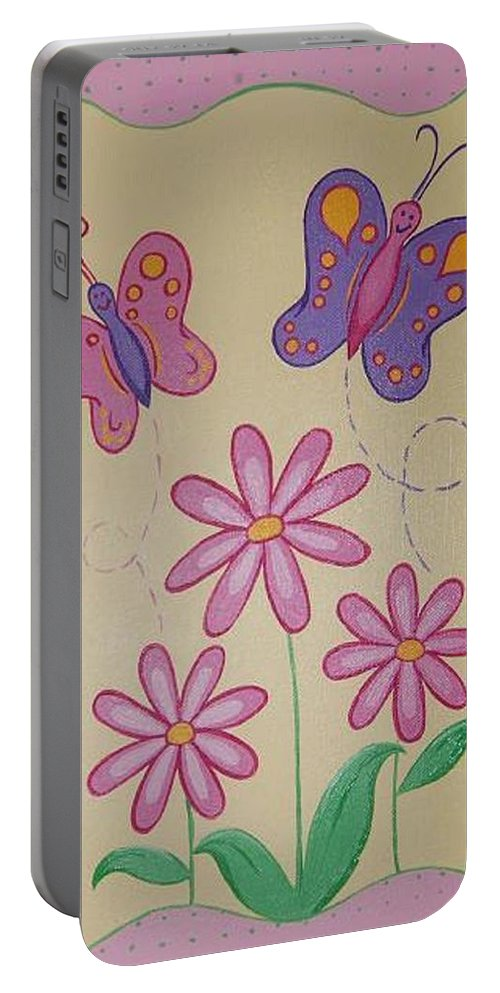 Butterflu Portable Battery Charger featuring the painting Butterfly Smiles by Valerie Carpenter