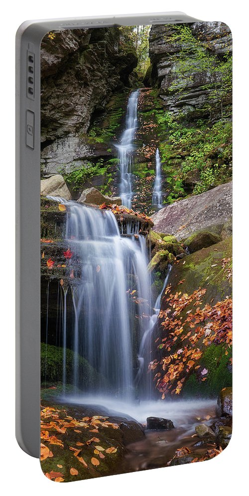 Autumn Portable Battery Charger featuring the photograph Buttermilk Falls by Ryan Kirschner