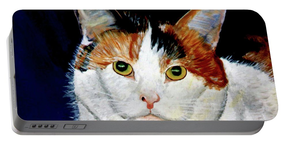 Cat Portable Battery Charger featuring the painting Buttons by Stan Hamilton