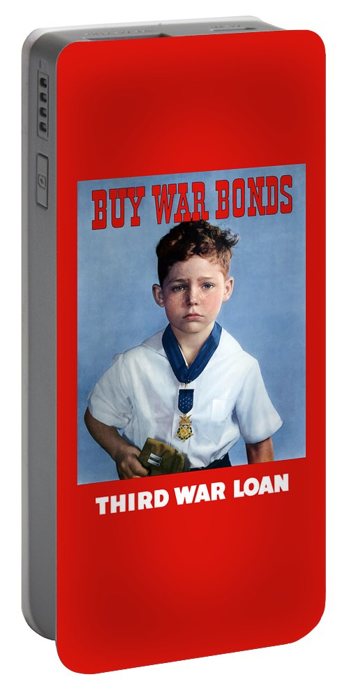 Medal Of Honor Portable Battery Charger featuring the painting Buy War Bonds -- Third War Loan by War Is Hell Store