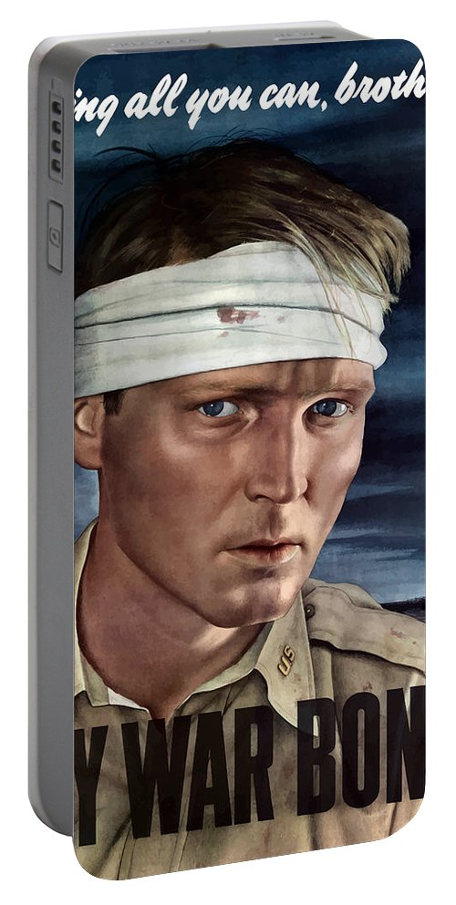 War Propaganda Portable Battery Charger featuring the painting Buy War Bonds by War Is Hell Store