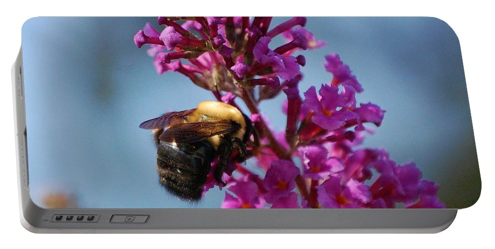 Bee Portable Battery Charger featuring the photograph Buzzed by Debbi Granruth