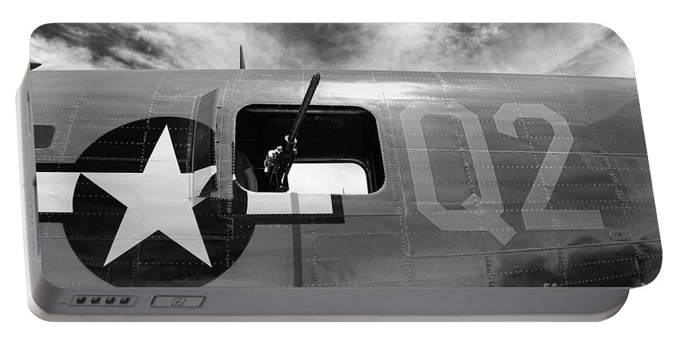 Wwii Portable Battery Charger featuring the photograph Bw Aircraft Gunner Window by Chuck Kuhn