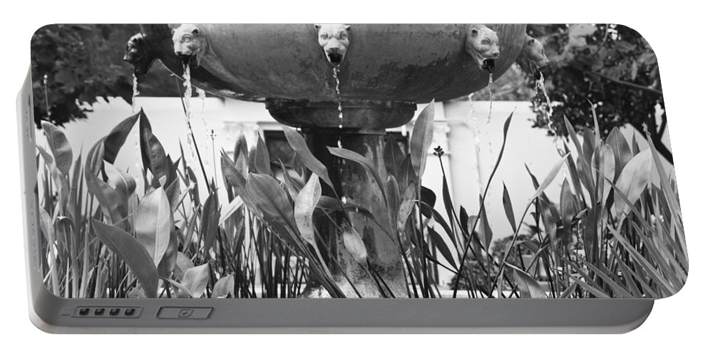 J Paul Getty Portable Battery Charger featuring the photograph Bw Fountain At The Getty Villa by Teresa Mucha