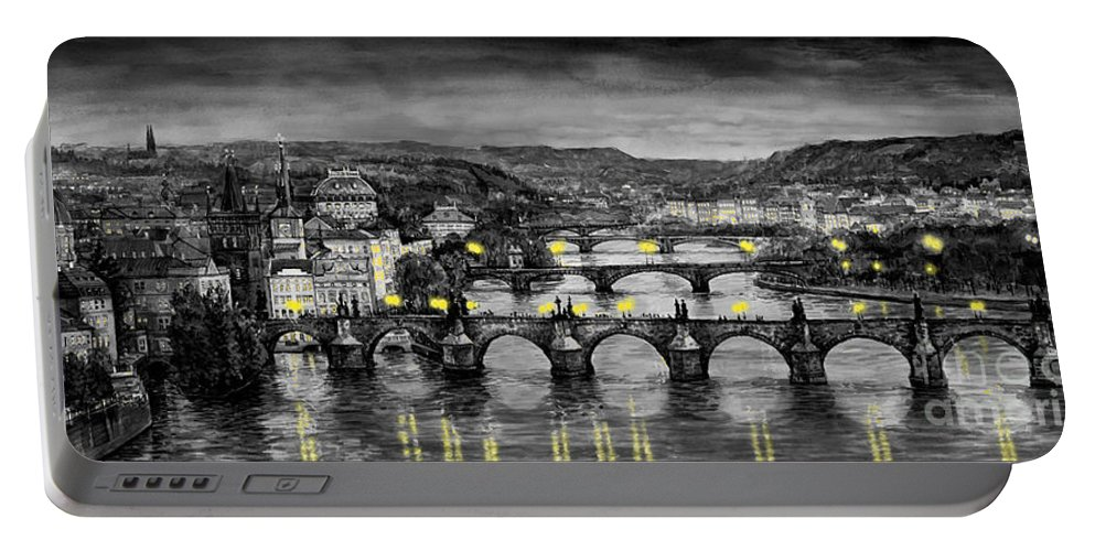 Prague Portable Battery Charger featuring the painting BW Prague Bridges by Yuriy Shevchuk