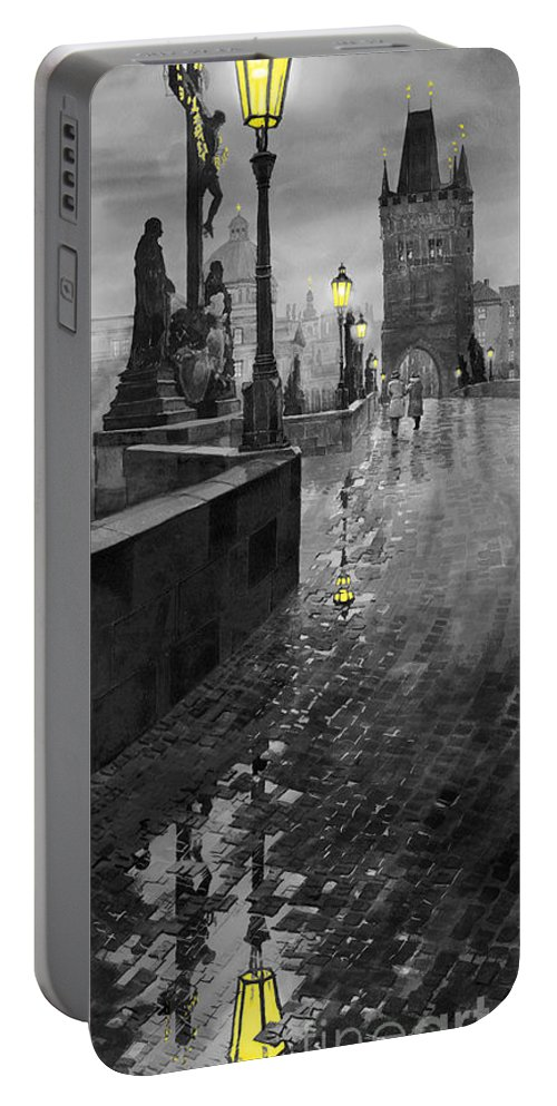 Prague Portable Battery Charger featuring the painting Bw Prague Charles Bridge 01 by Yuriy Shevchuk