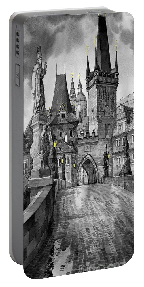 Prague Portable Battery Charger featuring the painting Bw Prague Charles Bridge 02 by Yuriy Shevchuk