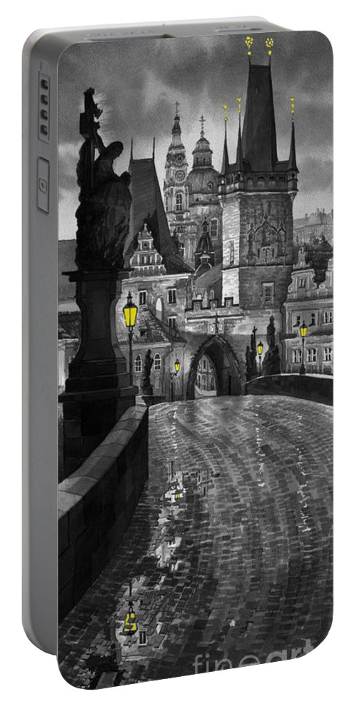 Prague Portable Battery Charger featuring the painting BW Prague Charles Bridge 03 by Yuriy Shevchuk