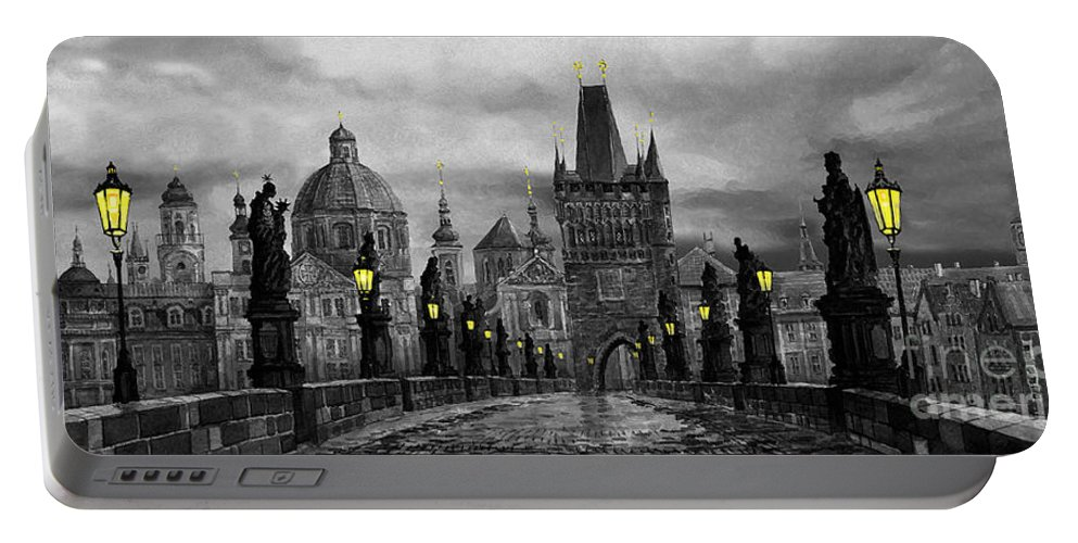 Prague Portable Battery Charger featuring the painting Bw Prague Charles Bridge 04 by Yuriy Shevchuk