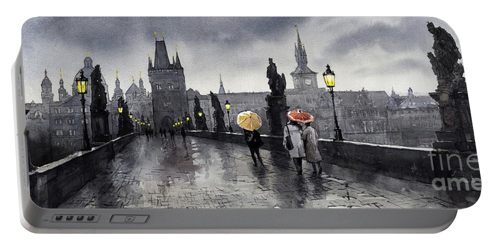 Prague Portable Battery Charger featuring the painting Bw Prague Charles Bridge 05 by Yuriy Shevchuk