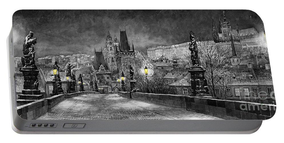 Prague Portable Battery Charger featuring the painting BW Prague Charles Bridge 06 by Yuriy Shevchuk