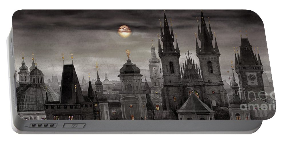 Cityscape Portable Battery Charger featuring the painting Bw Prague City Of Hundres Spiers by Yuriy Shevchuk