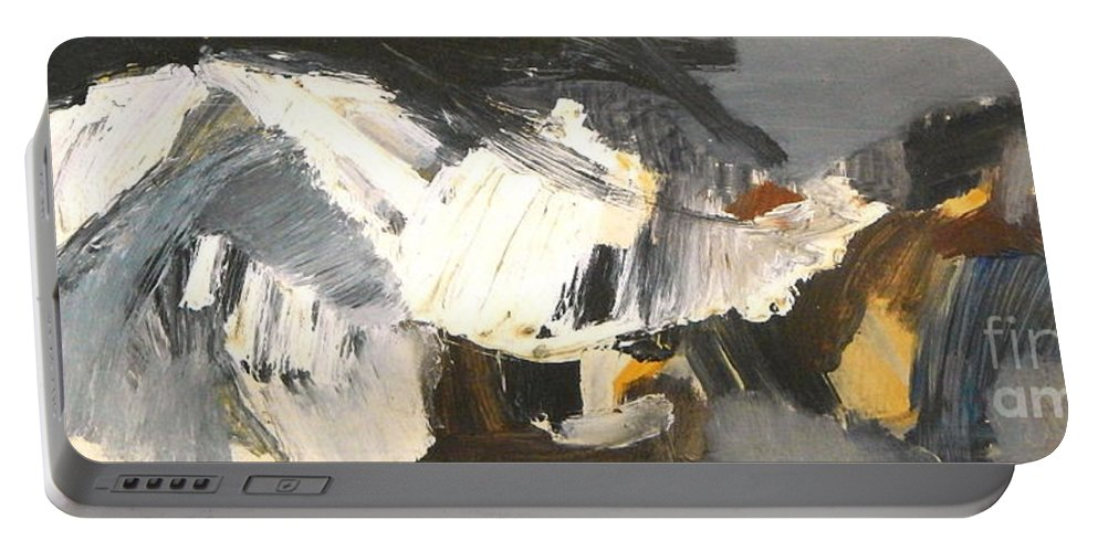 Crashing Wave Drama Portable Battery Charger featuring the painting By Edgar A.batzell Untitled Wave by Expressionistart studio Priscilla Batzell