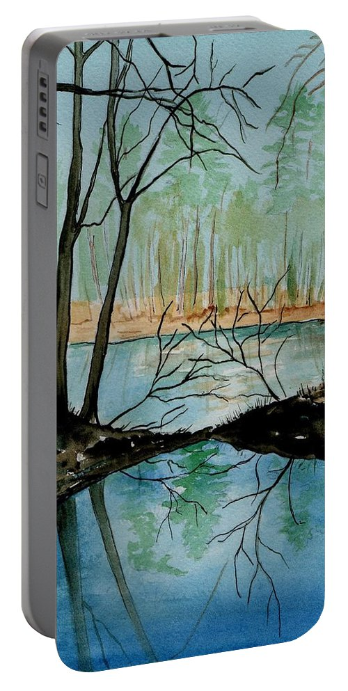 Watercolor Portable Battery Charger featuring the painting By River's Edge by Brenda Owen