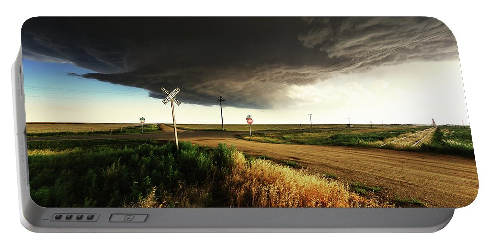 By Portable Battery Charger featuring the photograph By Road, By Rail, Or By God by Brian Gustafson