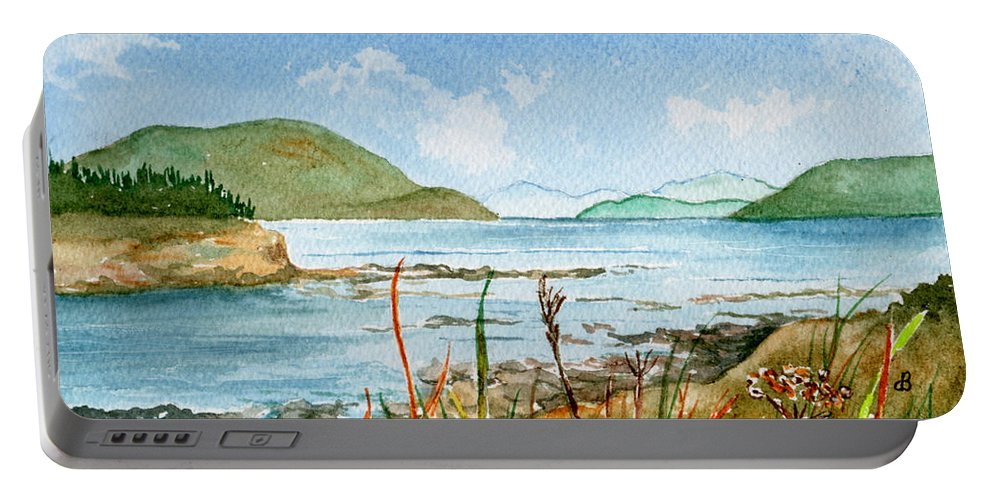 Landscape Portable Battery Charger featuring the painting By The Bay by Brenda Owen