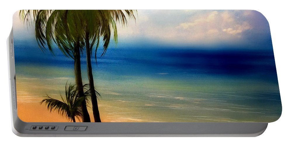 Beach Portable Battery Charger featuring the painting By The Beach by Veronica Castaneda
