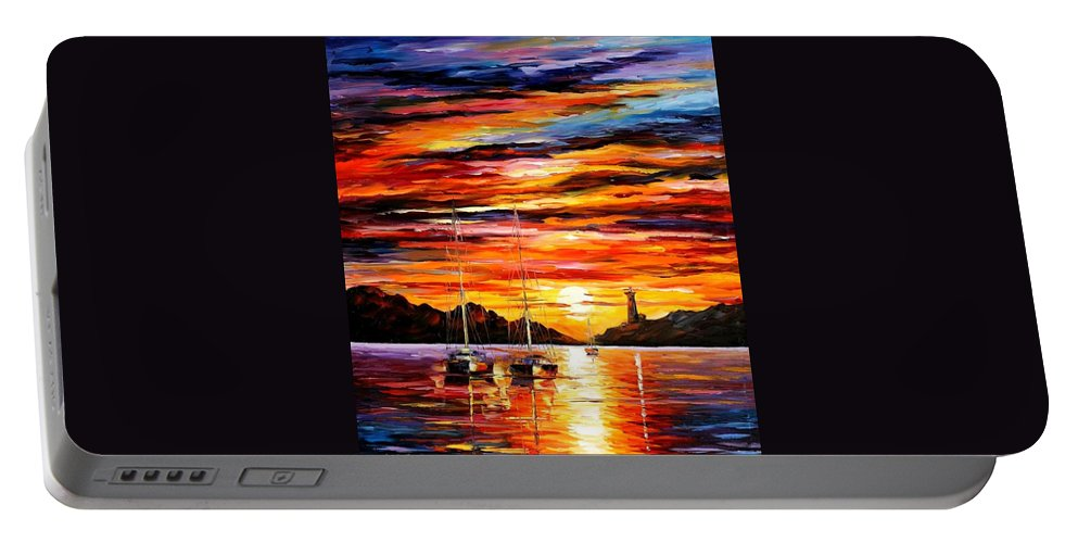 Afremov Portable Battery Charger featuring the painting By The Entrance To The Harbor by Leonid Afremov