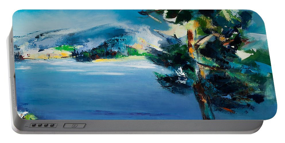 Landscape Nature Portable Battery Charger featuring the painting By The Lake by Elise Palmigiani