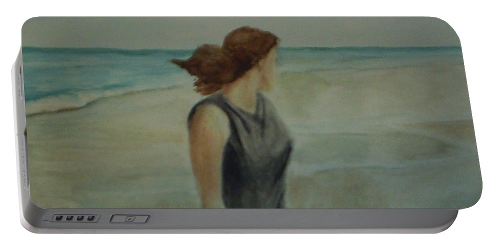 Ocean Portable Battery Charger featuring the painting By The Sea by Sheila Mashaw