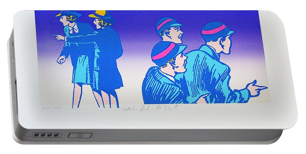 School Boy Portable Battery Charger featuring the mixed media By The Time I Got To Woodstock by Charles Stuart