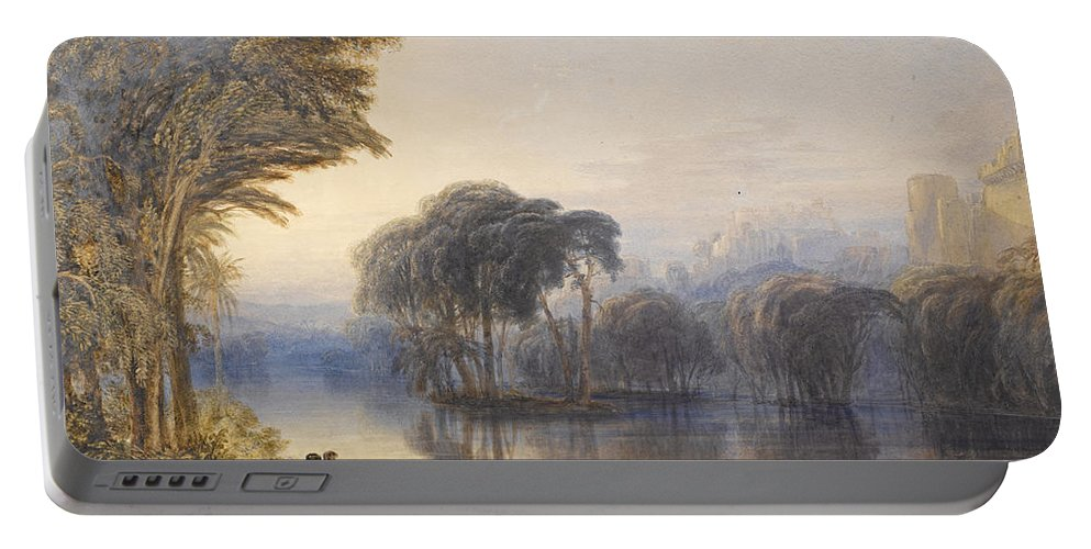 Anthony Vandyke Copley Fielding Portable Battery Charger featuring the drawing By The Waters Of Babylon by Anthony Vandyke Copley Fielding