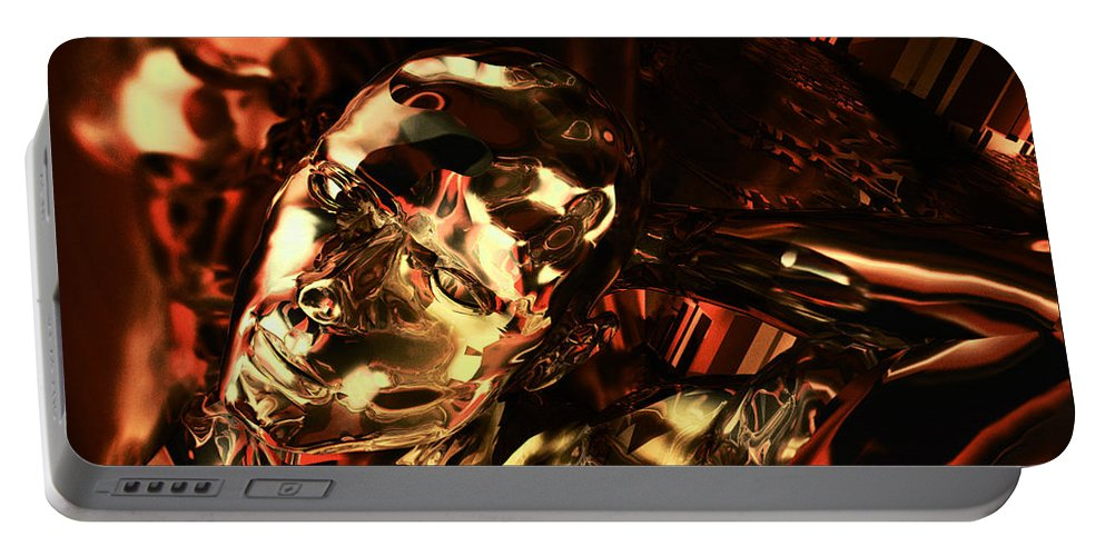 Android Portable Battery Charger featuring the digital art The Thinking Golden Robot by Max Steinwald