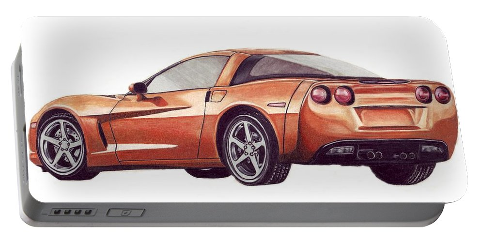 Corvette Portable Battery Charger featuring the drawing C6 by Kristen Wesch