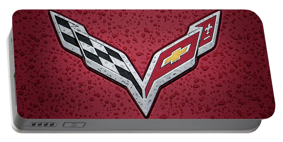 Corvette Portable Battery Charger featuring the digital art C7 Badge Red by Douglas Pittman