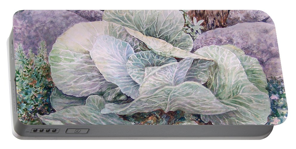 Leaves Portable Battery Charger featuring the painting Cabbage Head by Valerie Meotti