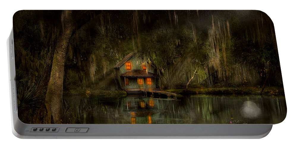 Swamp Portable Battery Charger featuring the photograph Cabin - De Land, Fl - Restless Night 1904 by Mike Savad