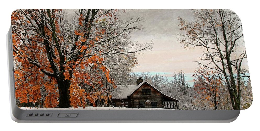 Landscapes Portable Battery Charger featuring the photograph Cabin Fever by Laurie Baird