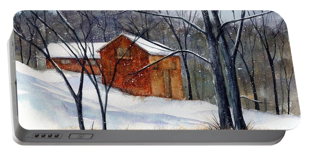 Cabin Portable Battery Charger featuring the painting Cabin In The Woods by Debbie Lewis