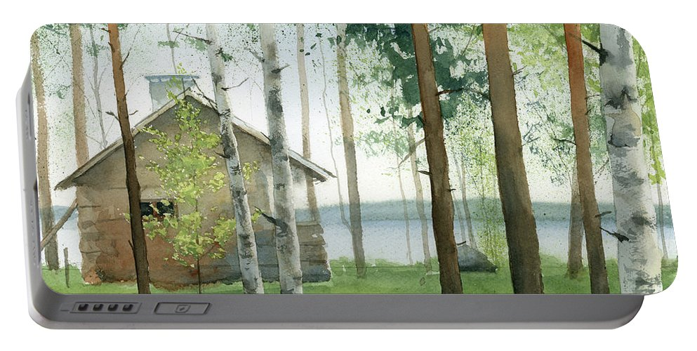 Watercolor Portable Battery Charger featuring the painting Cabin In The Woods by Zapista Zapista