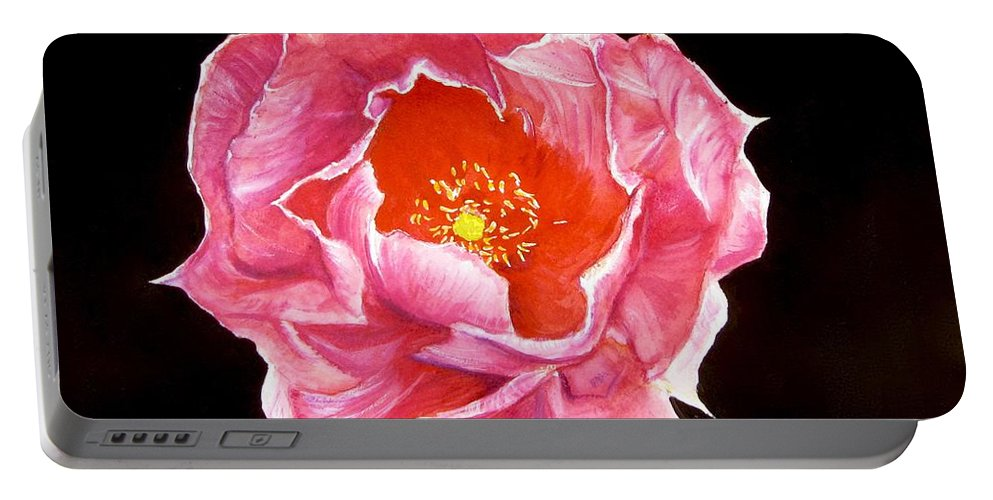 Cactus Painting Portable Battery Charger featuring the painting Cactus Flower by Carol Blackhurst