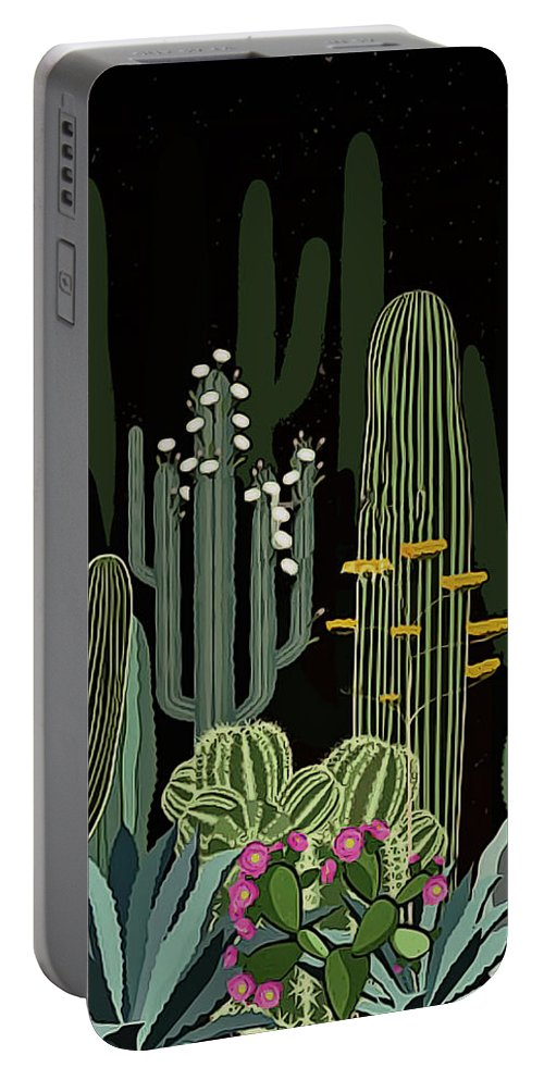 Plants Portable Battery Charger featuring the painting Cactus Garden At Night by Elaine Plesser