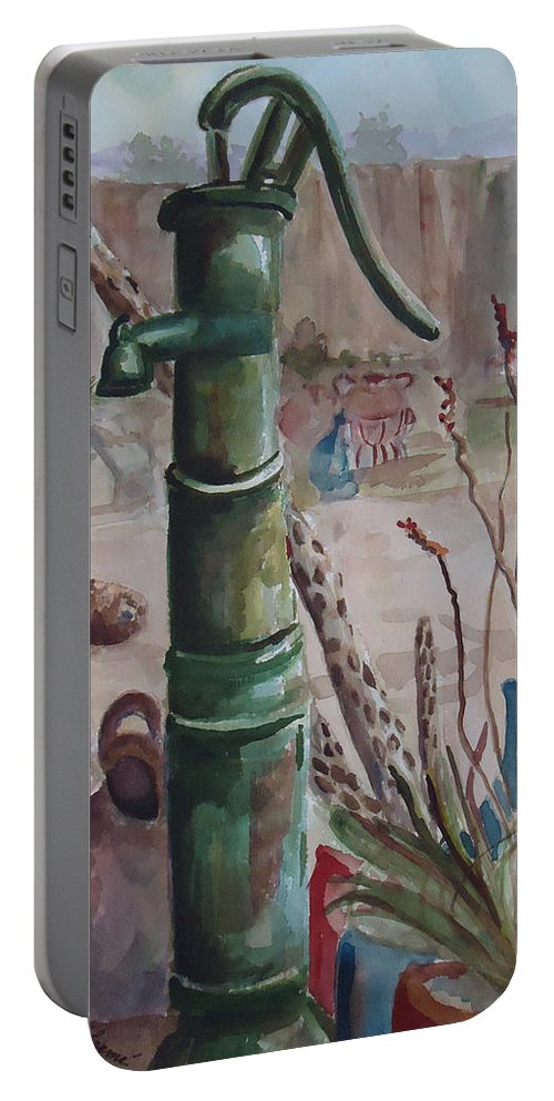 Landscape Portable Battery Charger featuring the painting Cactus Joes' Pump by Charme Curtin