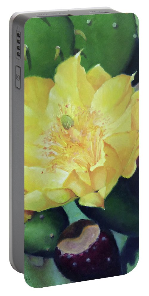 Floral Portable Battery Charger featuring the painting Cactus Rose by Teri Rosario