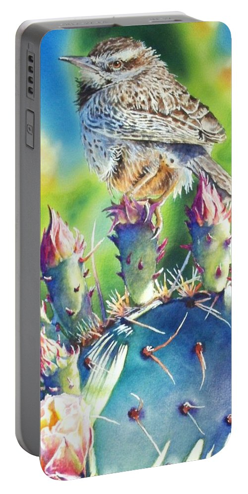 Wren Portable Battery Charger featuring the painting Cactus Wren by Greg and Linda Halom