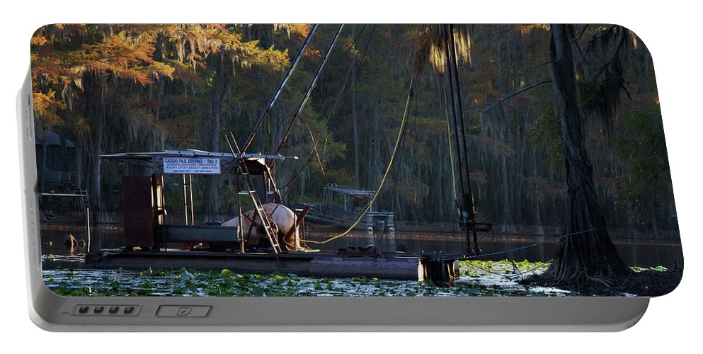 Autumn Portable Battery Charger featuring the digital art Caddo Pile Driving - Rig 2 by Lana Trussell