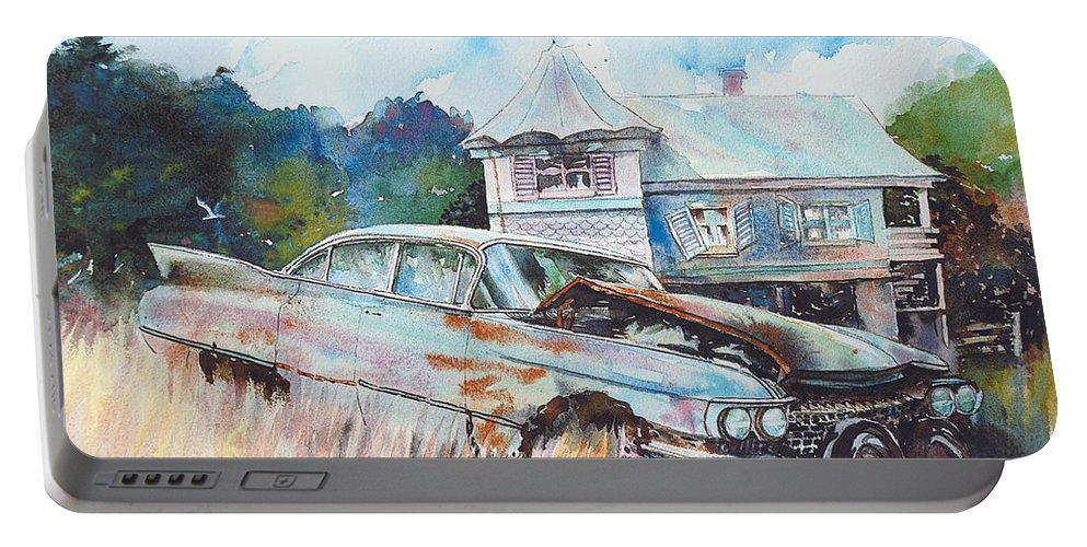 Cadillac Portable Battery Charger featuring the painting Caddy Sliding Down the Slope by Ron Morrison