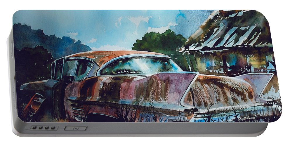 Caddy Portable Battery Charger featuring the painting Caddy Subsiding by Ron Morrison