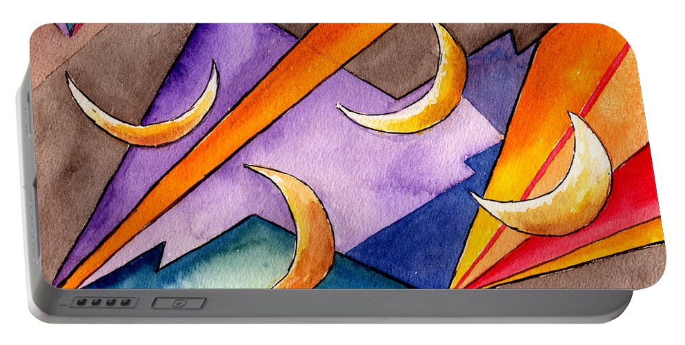 Watercolor Abstract Orange Purple Grey Moon Moons Design Fantasy Surreal Portable Battery Charger featuring the painting Cadence by Brenda Owen