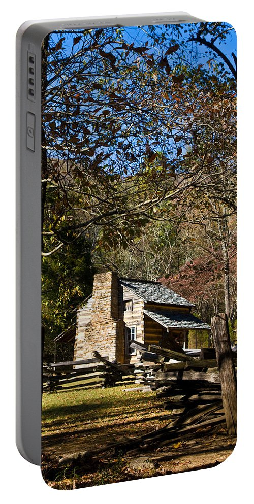 Cades Portable Battery Charger featuring the photograph Cades Cove Early Settler Cabin by Douglas Barnett