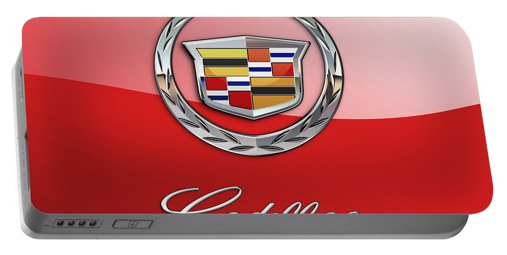 �wheels Of Fortune� Collection By Serge Averbukh Portable Battery Charger featuring the photograph Cadillac - 3 D Badge on Red by Serge Averbukh