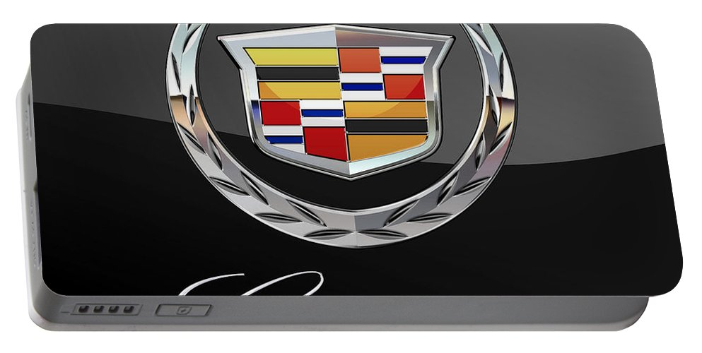 'wheels Of Fortune' By Serge Averbukh Portable Battery Charger featuring the photograph Cadillac - 3 D Badge On Black by Serge Averbukh