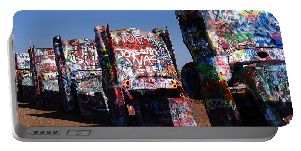 Photography Portable Battery Charger featuring the photograph Cadillac Ranch On Route 66 by Susanne Van Hulst