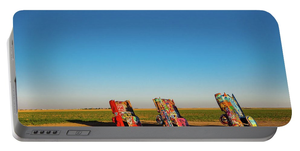 Landscape Portable Battery Charger featuring the photograph Cadillac Ranch by Rob Lantz