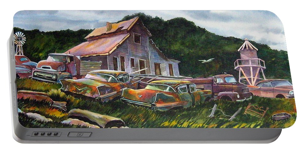 Cadillacs Portable Battery Charger featuring the painting Cadillac Ranch by Ron Morrison