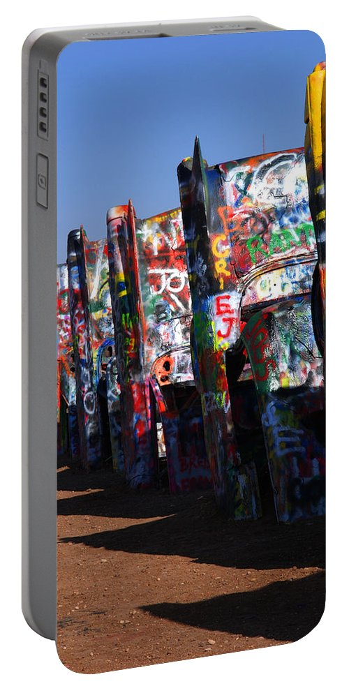 Photography Portable Battery Charger featuring the photograph Cadillac Ranch Route 66 by Susanne Van Hulst